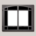 Architectural Arched Double Door Black Painted Finish