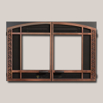Arts & Crafts Arch Double Door Onlay - Antique Copper Finish Frame