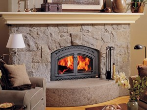 Thick cement hearth fireplace Atlanta