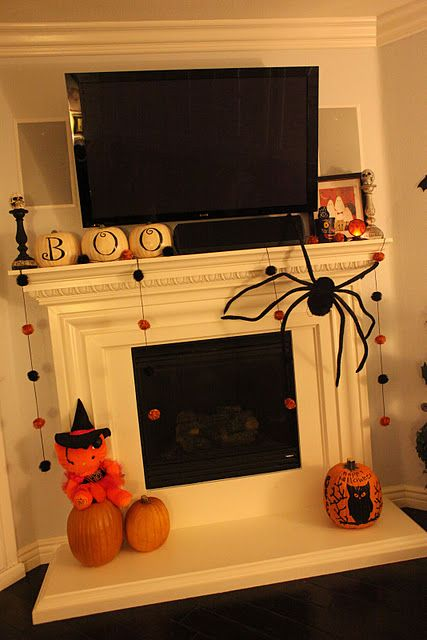 Gas Fireplace Halloween Mantel Decoration