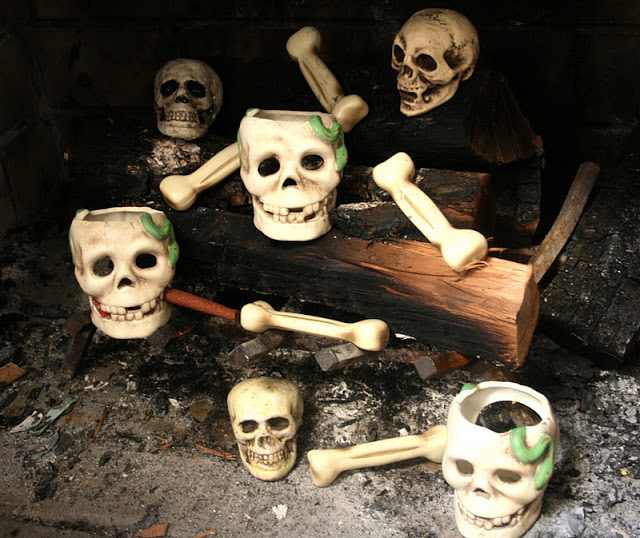 Old Fireplace Skeleton Decorations