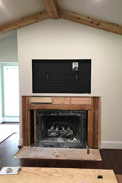 custom fireplace before