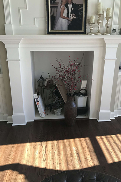 custom fireplace before and after