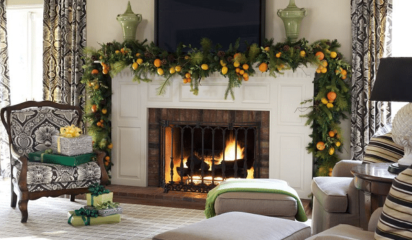 decorating a fireplace for christmas